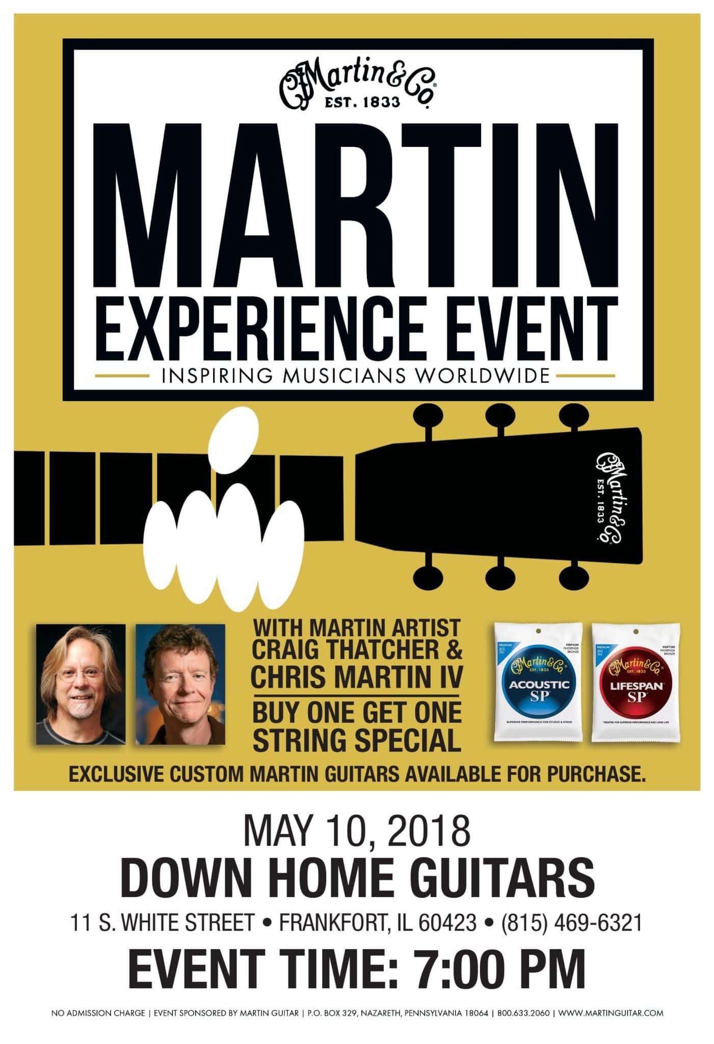 Martin Guitar Event with Chris Martin IV Thurs. May 10th 7pm -Free